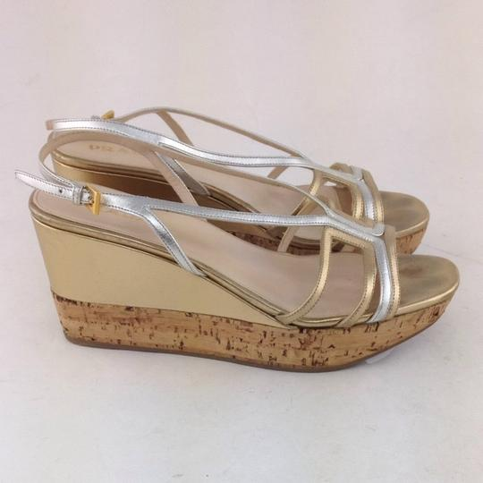 Prada Gold And Silver Wedges
