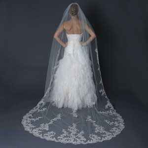 Elegance by Carbonneau Ivory/Silver/Gold Long Regal Cathedral Length with Thread Bridal Veil