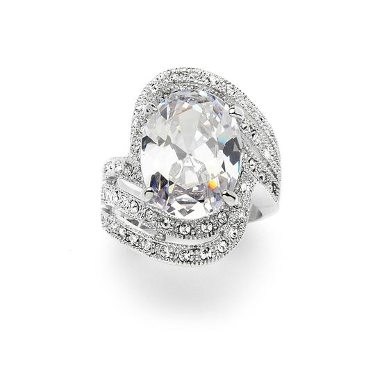 Mariell Silver Vintage Glamour Art Deco Cocktail with 10 Ct. Oval Cubic Zirconia Bling 4029r-6 Ring