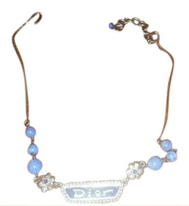 Dior Paris Lapis Runway Logo Necklace