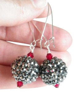 handmade grey disco red dangle earrings