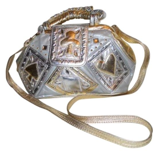 Preload https://item1.tradesy.com/images/metallic-convertible-satchel-silver-and-gold-leather-shoulder-bag-397350-0-0.jpg?width=440&height=440