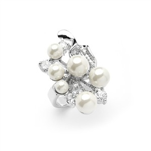 Mariell Silver/Ivory Bold Cubic Zirconia Cocktail with Light Pearl Bubbles 4031r-8 Ring