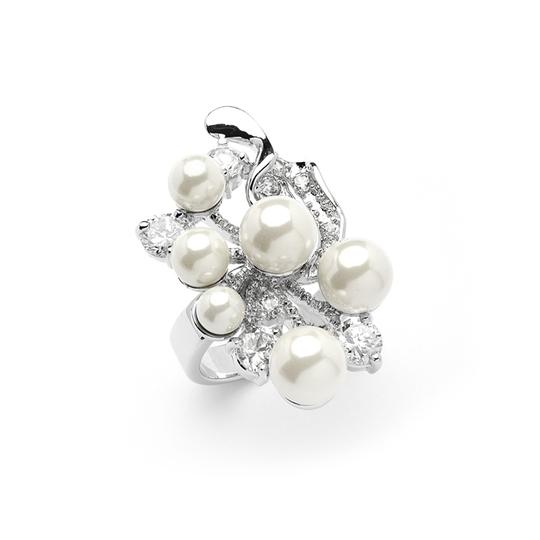 Mariell Silver/Ivory Bold Cubic Zirconia Cocktail with Light Pearl Bubbles 4031r-9 Ring