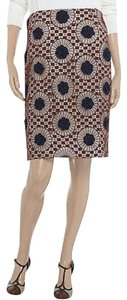 Tory Burch Crochet Lace Lined Cotton Silk New With Tags Skirt Brown / Navy / Cream