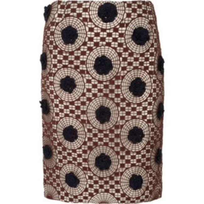 Tory Burch Crochet Lined New With Tags Skirt Brown / Navy / Cream