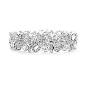 Mariell Silver Crystal Ribbons Stretch 404b-cr Bracelet