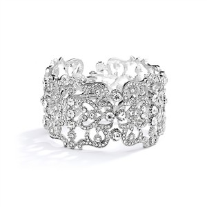 Mariell Silver Grecian Style Couture Or Prom Crystal Cuff 4050b Bracelet