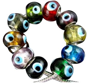 Short Cut To Chic Italian Murano Glass Bead Evil Eye Protection Charm Pandora Style