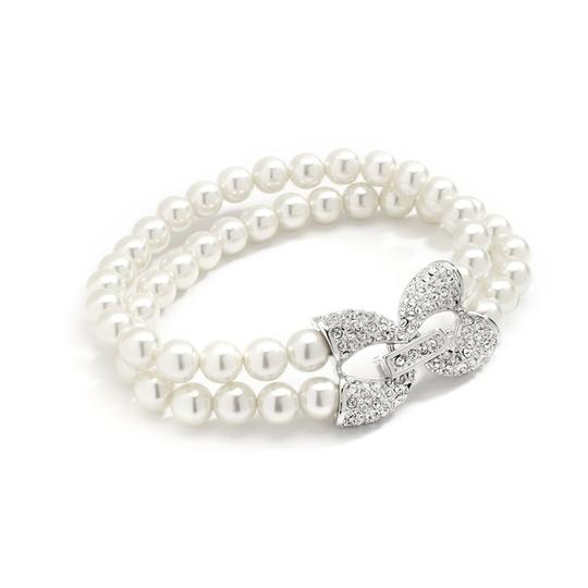Mariell Ivory Two Row Pearl with Pave Cubic Zirconia Accents 4056b Bracelet