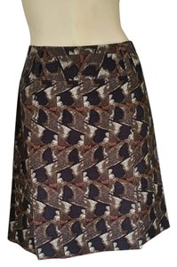Etcetera Wool Silk Lined Print Skirt Olive