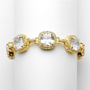 Mariell Magnificent Gold Petite Length Cushion Cut Cz Bridal Or Pageant Bracelet 4069b-g-6