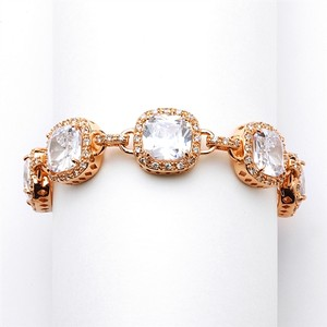 Mariell Magnificent Rose Gold Petite Length Cushion Cut Cz Bridal Or Pageant Bracelet 4069b-rg-6