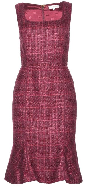 Item - Plum Tweed Ruffle Drew Mid-length Night Out Dress Size 8 (M)