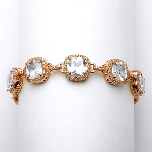 Mariell Magnificent Cushion Cut Cz Rose Gold Bridal Or Pageant Bracelet 4069b-rg-8