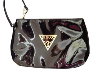 Guess Gold Hardware Patent Leather Wristlet in Black