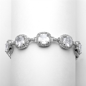 Mariell Silver Magnificent Cushion Cut Cubic Zirconia Or Pageant 4069b-s-8 Bracelet
