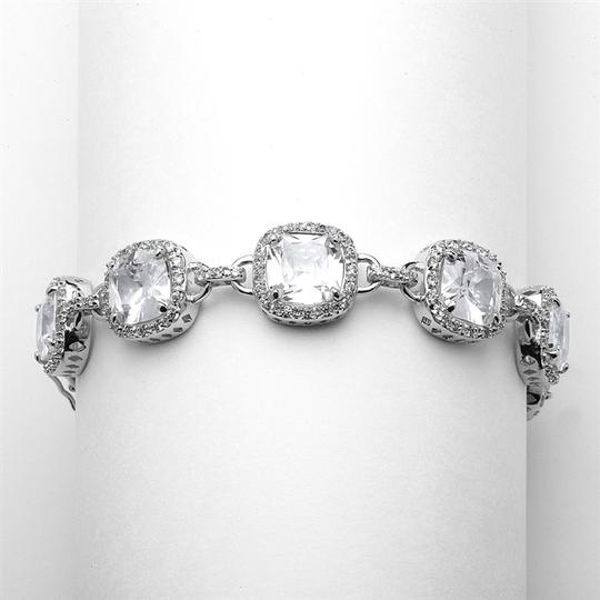 Mariell Silver Magnificent Cushion Cut Cubic Zirconia Pageant 4069b-s-8 Bracelet