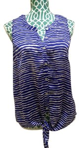 Daniel Rainn Tied Striped Zebra Print Blue Tank Tan Shirt Sleeveless Summer Chiffon Cool Beach Vacation Top Tan, Blue