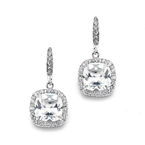 Mariell Magnificent Cushion Cut Cubic Zirconia Wedding Or Pageant Earrings In Platinum Silver 4069e-s