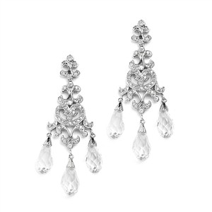Mariell Silver Crystal Teardrop Vintage Chandelier For Proms Or Bridesmaid 4070e Earrings