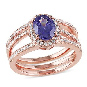 Amour Rose Pink Sterling Silver Tanzanite And Cubic Zirconia Cocktail Cluster Ring