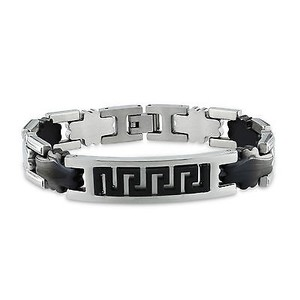 Amour Amour Mens Stainless Steel With Black Plating Bracelet 8.5
