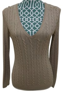 Ann Taylor LOFT Cable Knit Cotton Linen Long Sleeve V Neck Career Casual Chic Elegant Classic Sweater