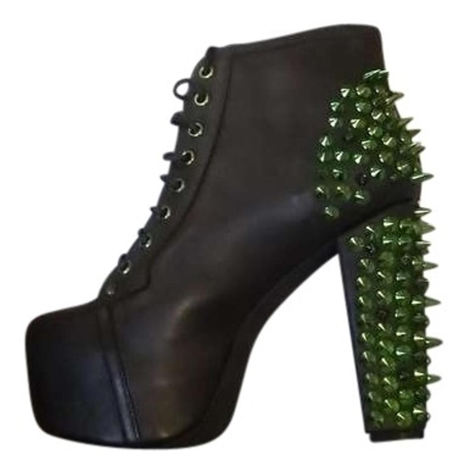 Jeffrey Campbell Black With Green Spikes Boots Lita Spike