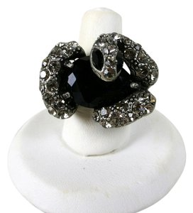 Lucky Star Jewels Designer Lucky Star Jewels Rhinestone Snake Ring w Stretchy Scales Band Gothic