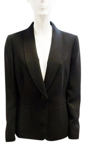 Tahari Arthur Levine Single Button Round Lapel Jacket 10 M Black Blazer