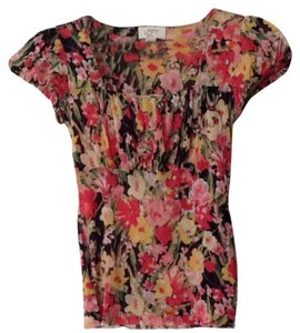 Ann Taylor LOFT Top Black With Pink, Yellow Flower Pattern