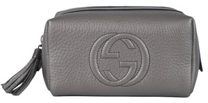 Gucci New Gucci 308636 Silver Leather Soho Tassel GG Cosmetic Makeup Bag Clutch