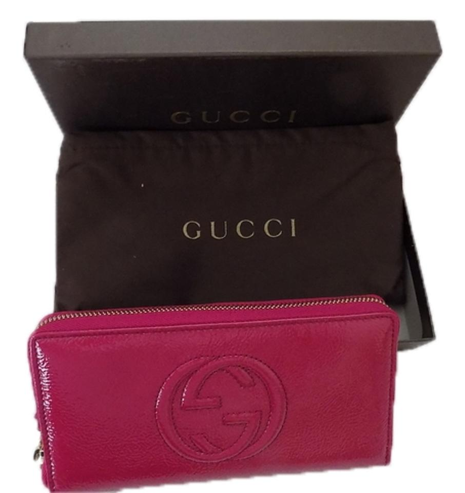 c3b729663f9 Gucci Gucci 308004 Soho Vernice PINK Patent Leather Zip Around Clutch Wallet  Image 0 ...