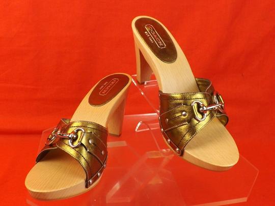 Coach Gold Mules
