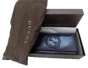 Gucci Gucci 282414 Soho Venice Blue patent Continental Clutch Wallet for women