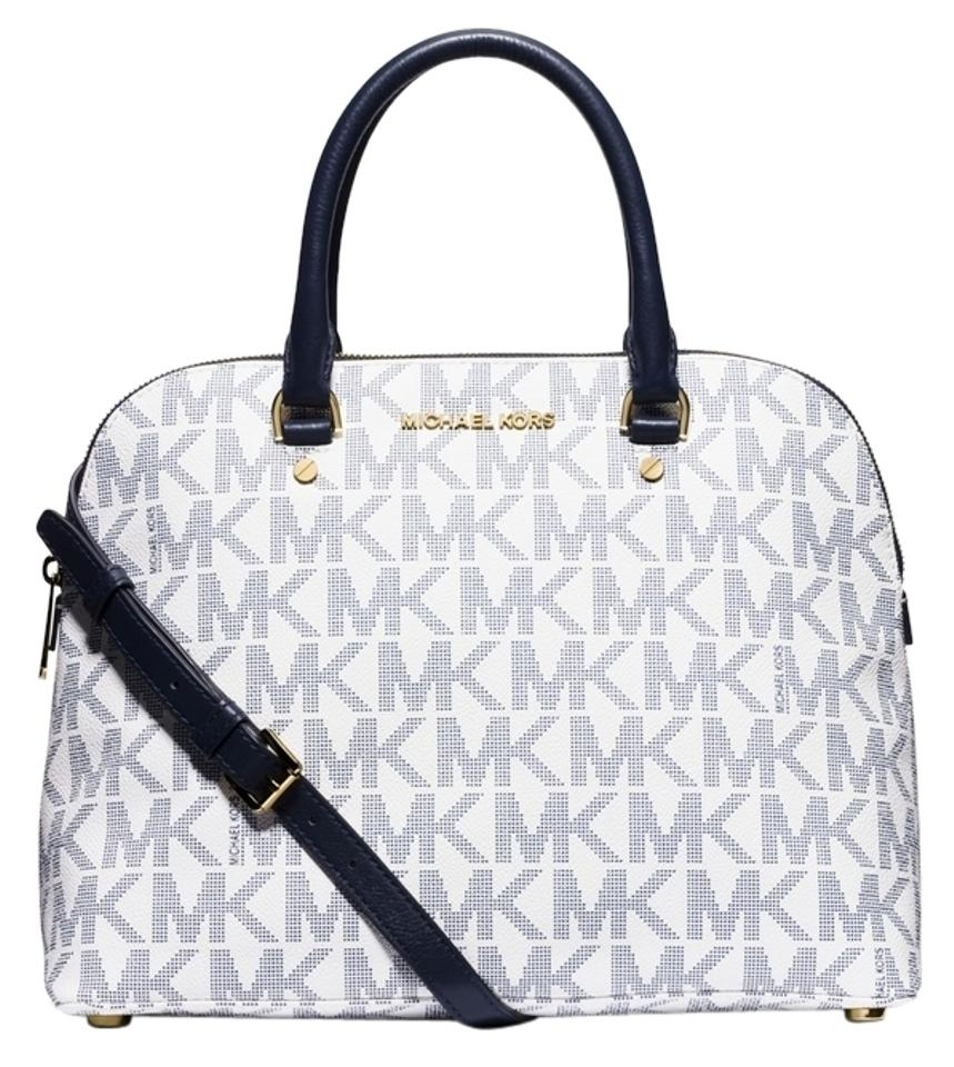 99bcf1e68e30 Michael Kors Cindy Large Dome White/ Logo/Gold White/ Navy Logo/Gold Mk  Signature Pvc Satchel