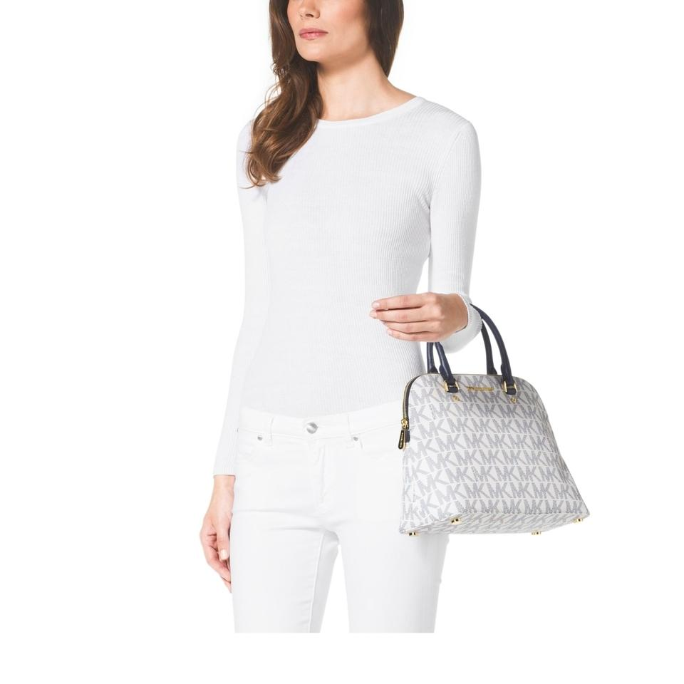 be26173e990b Michael Kors Cindy Large Dome White/ Logo/Gold White/ Navy Logo/Gold Mk  Signature Pvc Satchel - Tradesy
