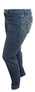 House of Deréon Bead Embellished Four Pocket Skinny Jeans-Dark Rinse