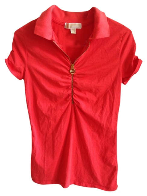Michael Kors Gold Hardware Zipper Monogram Ruching Mk T Shirt Red