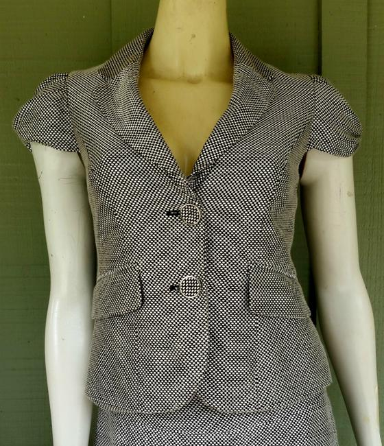 The Limited THE LIMITED Brown Tweed Career Skirt Suit XS/4 Puffed Cap Sleeves