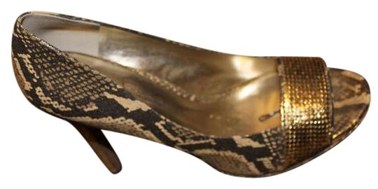 Jessica Simpson Gold Snake Print Pumps