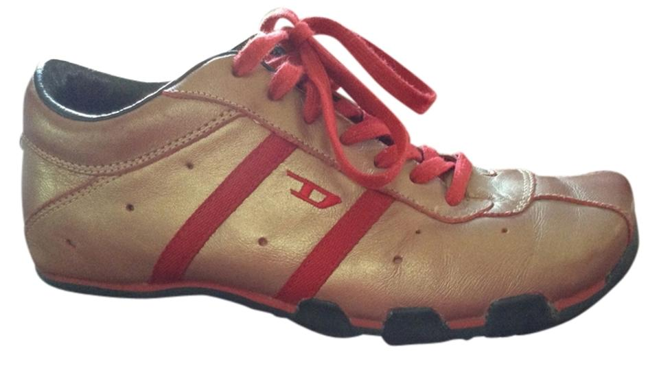 sports shoes 03cd1 c5400 Diesel Leather Upper Rubber Sole Red with gold tint Athletic Image 0 ...