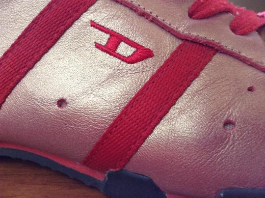 Diesel Leather Upper Rubber Sole Red with gold tint Athletic
