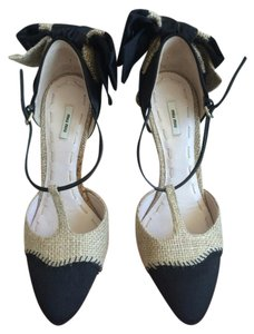 Miu Miu Bow Designer Marc Jacobs Tan and Black Pumps