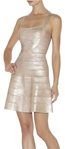 Hervé Leger Bandage Metallic Rose Gold Dress