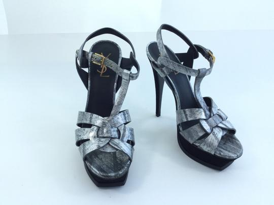 Saint Laurent Yves Ysl Silver Sandals