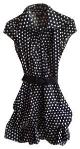 Izbyer short dress Black Buttons Ruching Polka Dot Belted on Tradesy