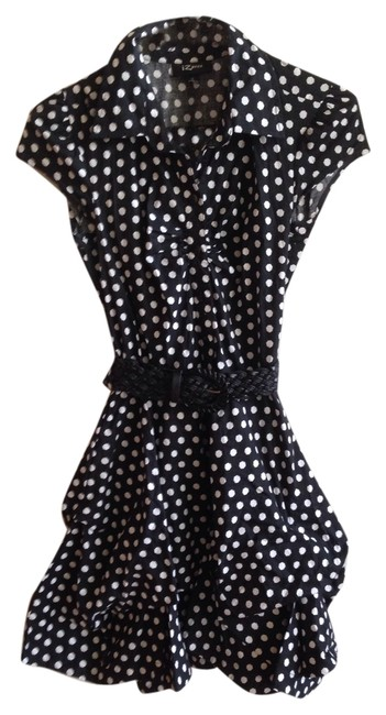 Preload https://img-static.tradesy.com/item/3981889/black-shirtdress-buttons-ruching-polka-dot-belted-above-knee-short-casual-dress-size-4-s-0-0-650-650.jpg
