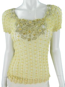 Moschino Cream Beaded Cotton Crochet Sweater